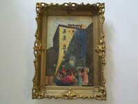 ANTIQUE VINTAGE IMPRESSIONISM PAINTING SPAIN? MEXICO LANDSCAPE URBAN CITY 1950'S