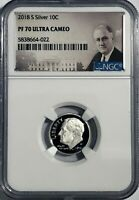 2018 S PROOF SILVER ROOSEVELT DIME NGC PF70 ULTRA CAMEO 10c 90% ROSEVELT LABEL