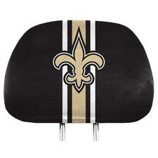 1 SET OF 2 NEW ORLEANS SAINTS HEAD REST COVERS W/ LOGO & STORAGE POCKETS ON BACK