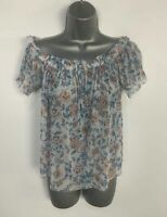 WOMENS NEW LOOK BLUE FLORAL SHEER CASUAL SUMMER OFF SHOULDER BLOUSE TOP SIZE 14