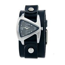 Nemesis Silver Small Triangle Ladies Watch w/ Black Leather Cuff Band Vintage