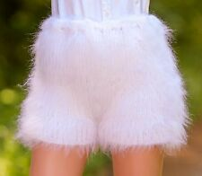 SUPERTANYA WHITE Hand Knitted Mohair Pants Fuzzy Underwear thick Handmade Shorts