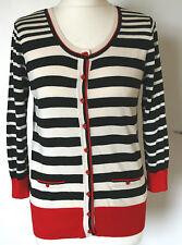 Debenhams Collection UK14 EU42 new black, cream & red cardigan with 3/4 sleeves