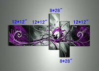 Set Modern Purple Abstract Oil Painting on canvas Wall Art Canvas(NO frame)