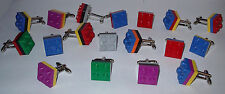 SPORT TEAM SOCCER MEN LEGO  BRICK CUFFLINK PICK YOUR  TEAM COLOR 2 OR 3 TIER
