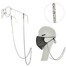 Rhinestone Jewel Silver Crystal Face Mask Eye Glass Chain Strap Lobster Claw