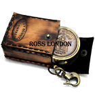 ROSS LONDON Pocket Boy Scouts Brass & Copper Compass 2 Inch With Leather Case.