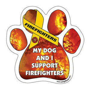 Dog Magnetic Paw Car Decal, My Dog And I Support The Firefighters, Made In USA