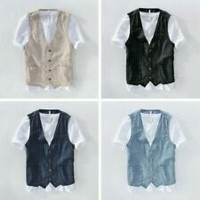 Men Linen Look Stripe Vest Jacket Pocket Gilet Top Waistcoat Business Coat Solid