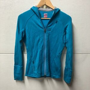 Icebreaker GT 260 Merino Wool Women's S Bright Blue Full Zip Sweater Thumb Holes