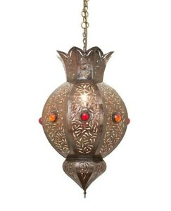 Moroccan Dark Bronze Ceiling Pendant Light with Hook, Cable & Chain - H55xW30cm