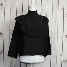 TOIT VOLANT Women's Ruffle Front Blouse Black Made in USA Sz Small