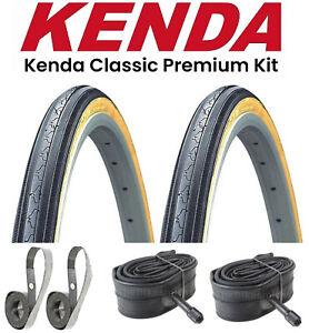 "KENDA K35 Classic Gumwall Kit Retro 27"" x 1-1/4"" Bike Tires + Tubes + Rim Strips"