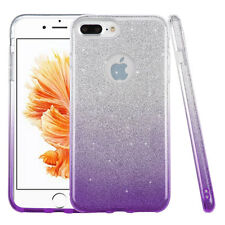 For iPhone 7+ PLUS -Purple Gradient Shimmering Glitter Hard TPU Gummy Case Cover