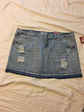 Mudd: Teen/Women Distressed Short Blue Denim Skirt, Raw Hem: Light Wash, 15