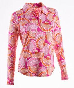 NWT IBKUL Icikuls ALISSA PINK & ORANGE Long Sleeve Polo Golf Shirt XL & 2XL