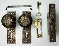 Antique Set EASTLAKE VICTORIAN AESTHETIC Backplates Door Knob Mortise Lock w Key