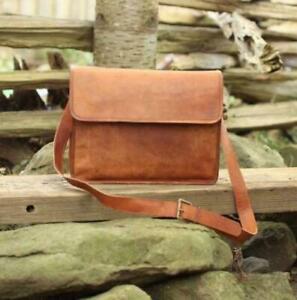 """Men's Vintage Leather half flap Messenger Laptop Satchel Shoulder 15"""" Bag New"""