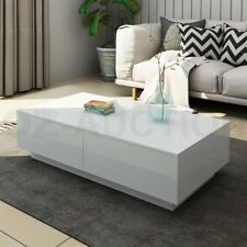 Modern Coffee Table 4-Drawer Side Table High Gloss Living Room Furniture - White
