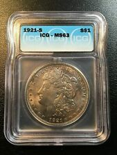 1921 S MORGAN DOLLAR ICG MS-63 - UNCIRCULATED - BETTER DATE - CERTIFIED SLAB -$1