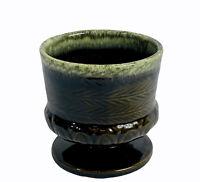 "Vintage Hull Pottery Footed Planter F84 Olive Drip Glaze Round Pot Vase USA 4.5"""