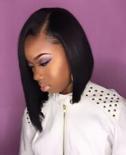 100% Remy Human Hair Wig Long Bob Straight Side Part Natural Lace Front Wigs #
