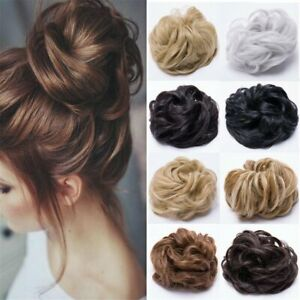 Real Natural Curly Messy Bun Hair Piece Updo Scrunchies Hair Extensions as Human