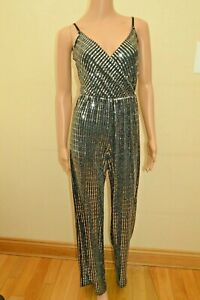 Lipsy Metallic Silver Sequin Cami Jumpsuit Sz 4 8 10 12 14 16 18 reg & petite