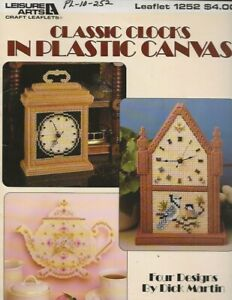 REDUCED AGAIN! Vintage 1990 Classic Clocks in Plastic Canvas Leaflet