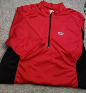 New! LG LOUIS GARNEAU-Red/Blk Perform.Poly, Mens SS, 1/4 Zip Cycling Jersey-(L)