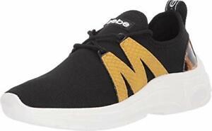 bebe Women's Leylan Sneaker, Black/Yellow, Size 6.5 pVbY