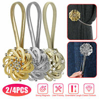 2/4 PCS Magnetic Curtain Tiebacks Tie Backs Buckle Clips Holdbacks Window Decor