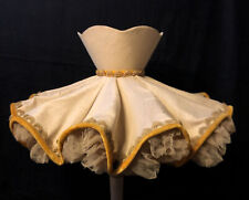 ATQ Vintage Fabric Ruffle Ballerina Lamp Shade Wire Frame Tulle Velvet Scallop