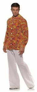 70's-80's Men's Groovy Disco Shirt Orange Paisley Poly Wide Collar Costume Shirt