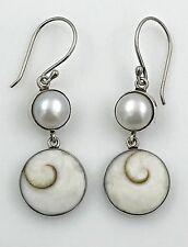 ESTATE Stellar Jewels .925 Sterling Silver, Pearl & Shell Dangling Earrings