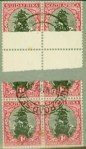 South Africa 1930 1d Black & Carmine SG43var Detached Paper Joined Through to...