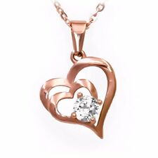 Mother Love Double Heart Cubic Zirconia Pendant Necklace (Rose-Gold-Plated)