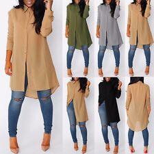 Women Ladies Long Sleeve Shirt Hemp Turn-down Collar Long Dress Fall Top Blouse