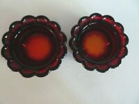 (2) DAISY ED BOWMAN Art Glass Open SALT DIPS Cellar Only 200 Made AMBERINA Red