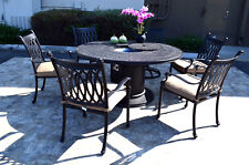 Propane fire pit table grill set cast aluminum patio furniture Grand Tuscany