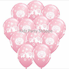 "12ct IT'S A GIRL ELEPHANT 11"" Latex Balloons Baby Shower Party Supplies Décor"