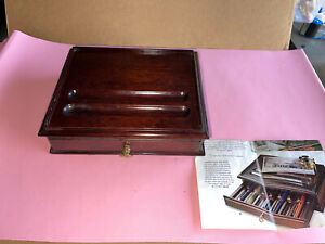 Monticello Mahogany fountain Pen BOX  One Drawer 10 Pens Vintage $99 In 1980's