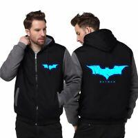 BATMAN Cosplay Men's Warm Jacket Luminous Hoodie Sweatshirts Thicken Zipper Coat