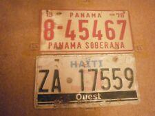 PANAMA SOBERANA 1978 # 8-45467 & HAITI OUEST # ZA 17559 RARE LICENSE PLATES