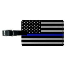 Thin Blue Line American Flag Rectangle Leather Luggage Card Carry-On ID Tag