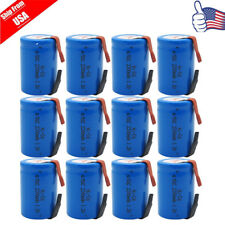 12 x NiCd 4/5 SC Sub C 1.2V 2200mAh Rechargeable Battery With Tab Blue USA