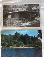 Set of 2 Lone Pine Cottage Colony Cranberry Lake NY Adirondacks Postcard 1963