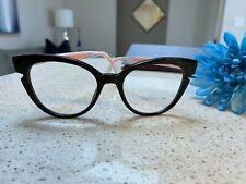 523996135612 Authentic FENDI Eyeglasses 0134 0N7A Black Crystal 50MM Womens