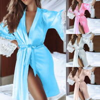 Women Lingerie Lace Dress Long Bath Robe Babydoll Bandage Nightwear Sleepwear 03