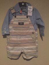 Osh Kosh B'Gosh Short Overalls Sz 9 mo. Khaki 100% Cotton Nwt